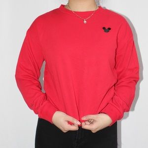 Red Mickey Mouse crewneck| lighting enhanced
